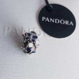 Pandora Butterflies Spacer Charm Blue Pink Silver